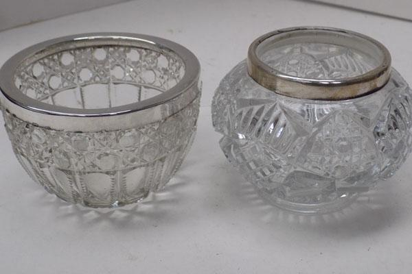 2x 925 Silver rimmed cut glass bowls