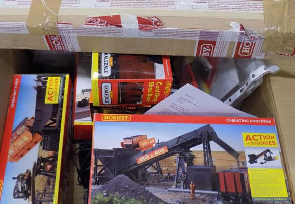 Box of Hornby trains and accessories