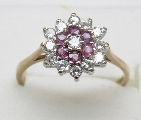 9ct gold ruby cluster ring approx. size O1/2