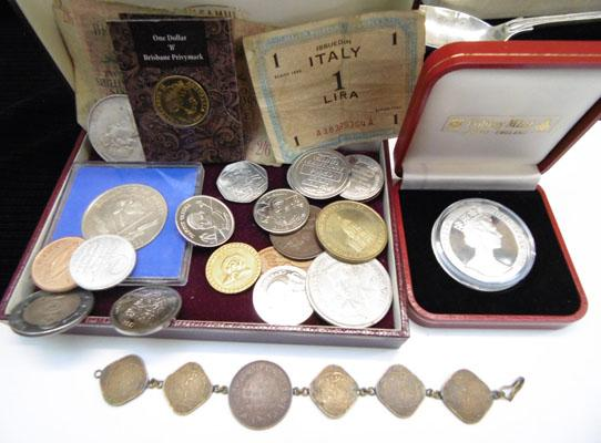 Collection of coins and old bank notes