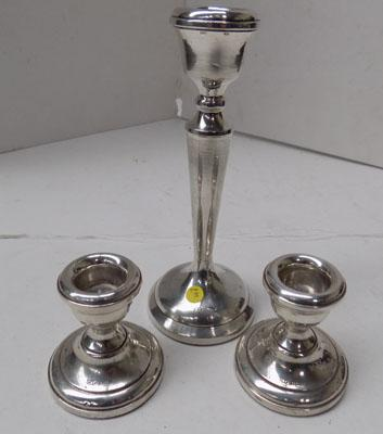 3x Silver 925 candlesticks-weighted 265gms