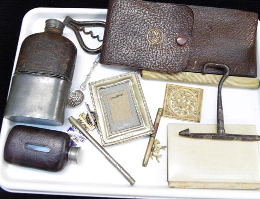 Tray of collectable flask's boot hook etc.