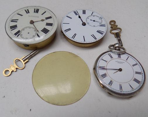 2x Movements pocket watches & silver pocket watch