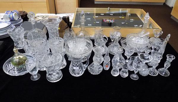 Large collection of crystal glass
