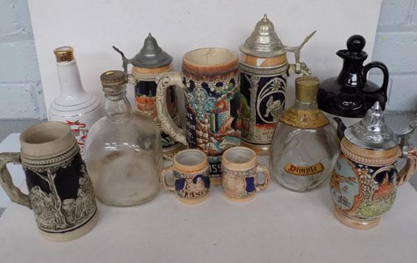 Collection of Steins & Whisky bottles