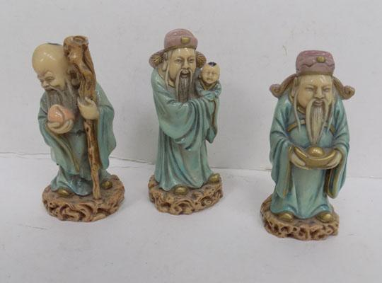 3x Resin china figures