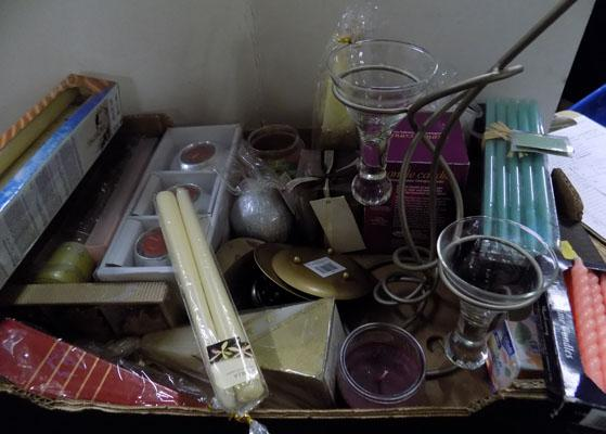 Box of various candles and 1 holder