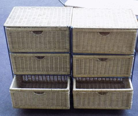 Wicker 3 drawer cabinets - x 2