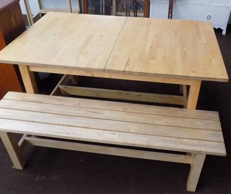 Beech extending, 6-10 place table + 2 benches - IKEA