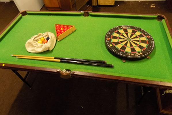 Snooker table with balls & cues + dart board
