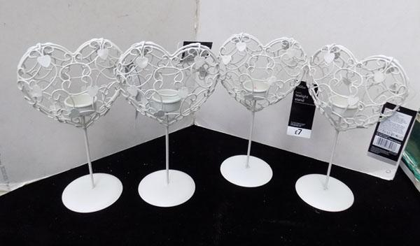 4 new metal heart candle holders