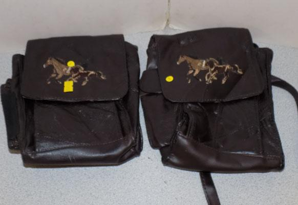 2 x leather horse satchels/bags (horse embroidered)