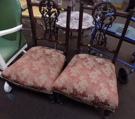 Pair of vintage Oak carved back nursing chairs-1 at fault