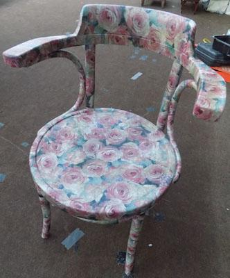 Napkin decoupaged Bentwood chair