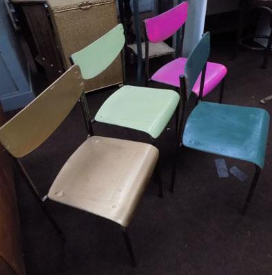 Four stacking chairs