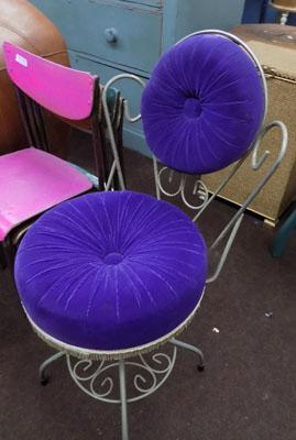 Purple wrought iron chair