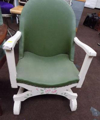 Green leather studded chair