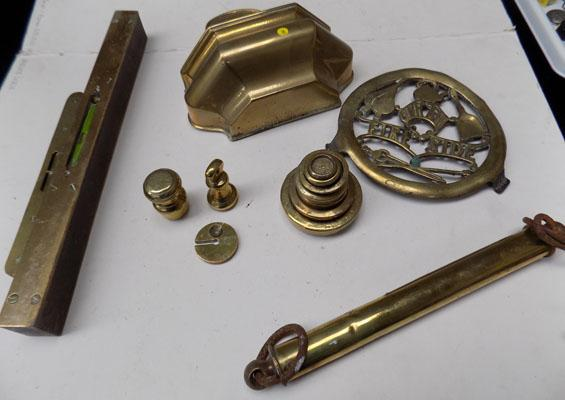 Selection of brasses & wall pockets etc