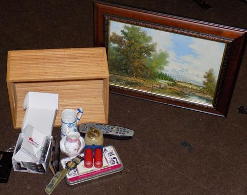 Box of collectables + painting