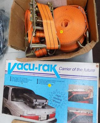 2x New 2.5 ton ratchets & long stands (orange) + new boxed car vacu rack carrier