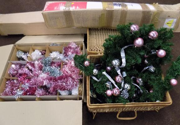 Box of Christmas decorations & 2 trees