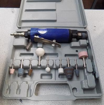 Air powered hand grinding set-boxed