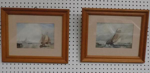 Pair of frame watercolour scenes