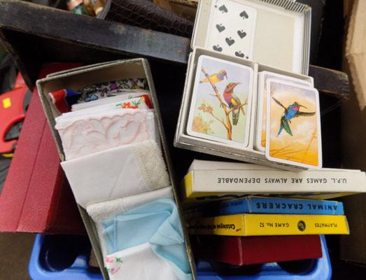 Mixed box of collectables inc playing cards