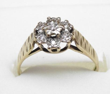 9ct gold diamond cluster ring approx. size N