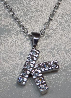 Sterling silver 'K' necklace