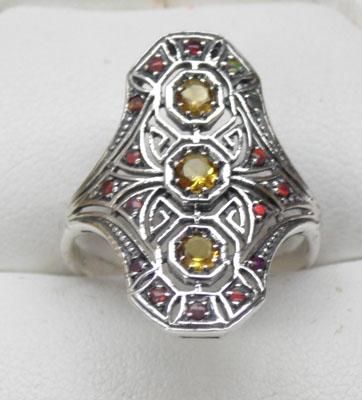 925 silver and citreen vintage style ring size Q