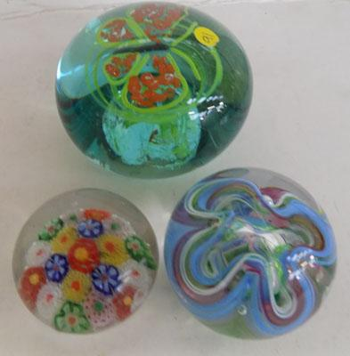 3x Paperweights-1 Selkirk glass
