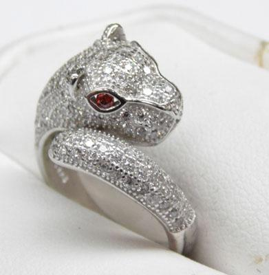 Silver panther ring studded with white topaz and ruby eyes size L1/2