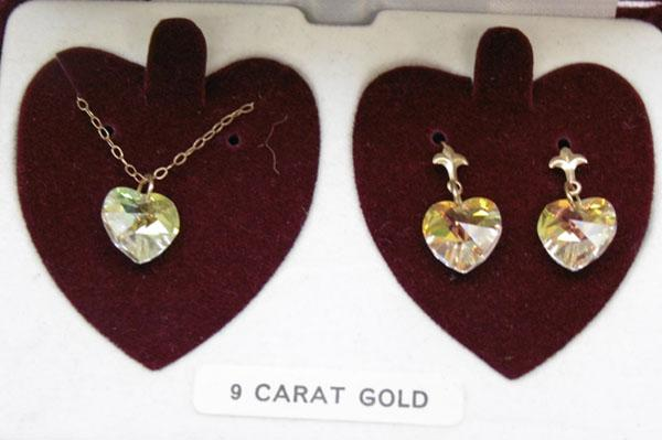 9ct gold and crystal necklace and earring set