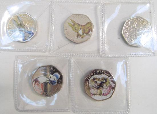 Beatrix Potter 50p with coloured stickers, full set