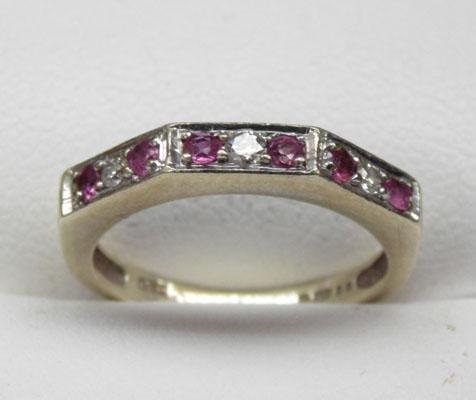 9ct gold ruby half eternity ring size I