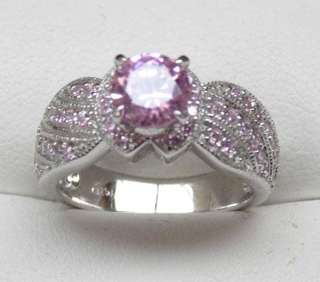 925 silver pink and white topaz ring size L1/2