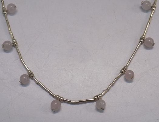 Sterling 925 silver Rose quartz necklace approx 16""