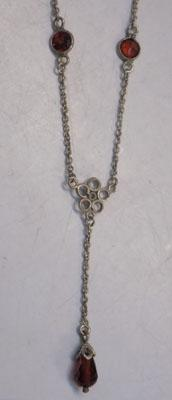 Sterling 925 silver Garnet necklace approx 17""