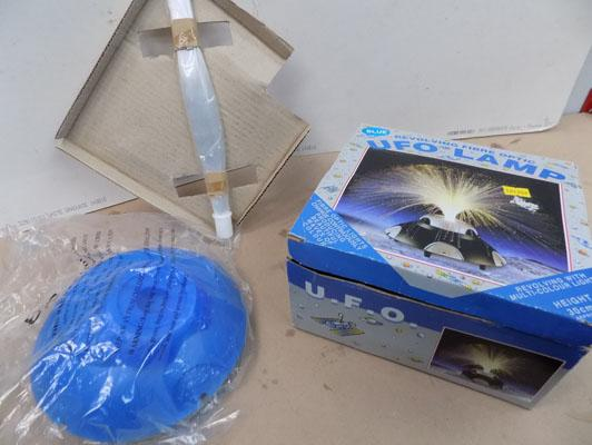 Revolving Fibre optic UFO blue lamp