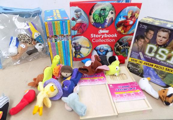 All new -Set of Horrid Henry books, 2 packs crayons, Avengers story book , fingers puppets and CSI puzzle
