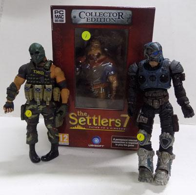 PC Mac settlers 7 figure boxed & 2x Army of 2 figures