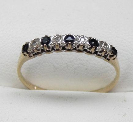 9ct gold sapphire and diamond half eternity ring size T