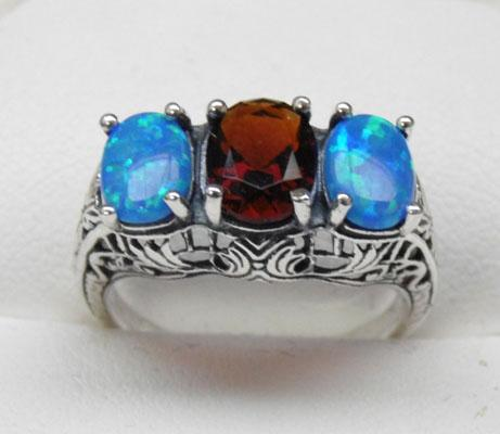 925 silver garnet and opal trilogy ring size M