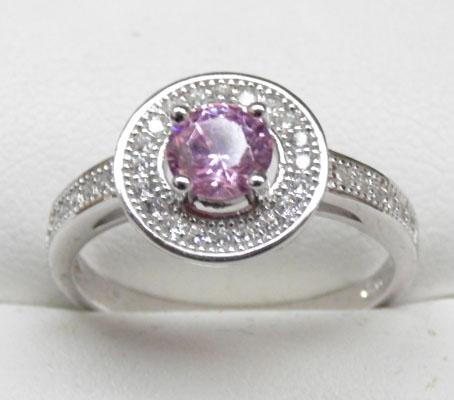925 silver pink and white topaz halo ring size S