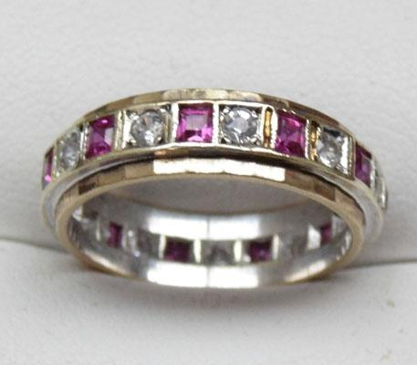 9ct gold ruby full eternity ring size N1/2