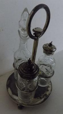 Condiment set glass & white metal with bell