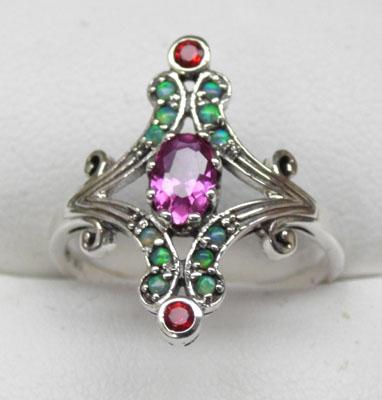 925 silver ruby garnet and opal ring size N1/2