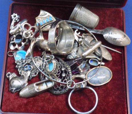 Large selection of silver & white metal items