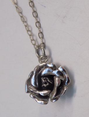 Sterling 925 silver Rose necklace approx 18""
